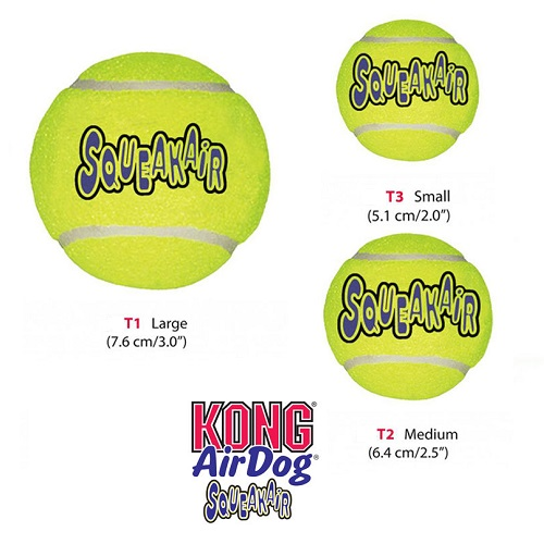 Kong AirDog Squeakair Ball Tamaños
